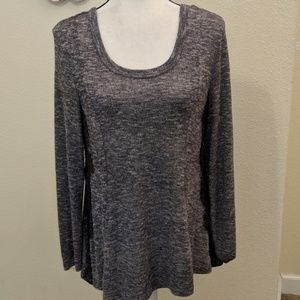 Heathered gray shirt with lace trim- Sale!